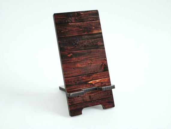 Smart Phone Stand - Brown Wood Pattern Cell Phone Charging Station ...