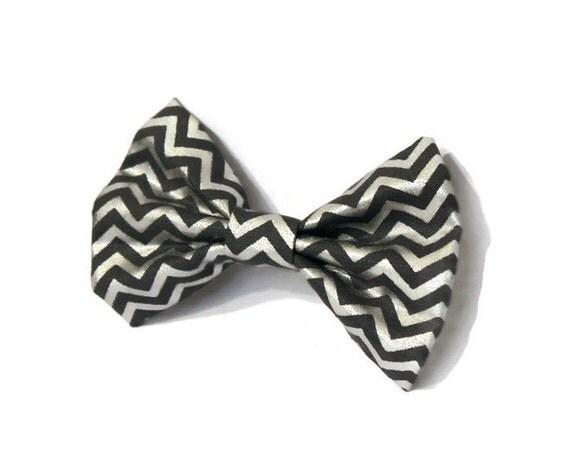 Silver Chevron Hair Bow - Grey Hair Clip - Teen Gift Idea - Winter Fashion - Metallic, Womens Hair Bow