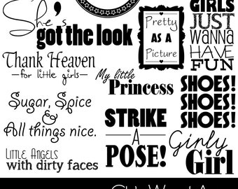 50% OFF~GIRLS Word Art (PNG Clip Art) + Photoshop Brush Set, Scrapbooking, Card making, Phrases, Quotes, Girls ~ Instant Download