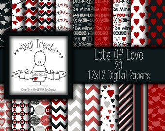 30% OFF~Lots Of Love, 12x12 Digital Scrapbook Paper, Romance, Valentines, LOVE, Scrapbooking, Card making, Digital Paper, Instant Download.