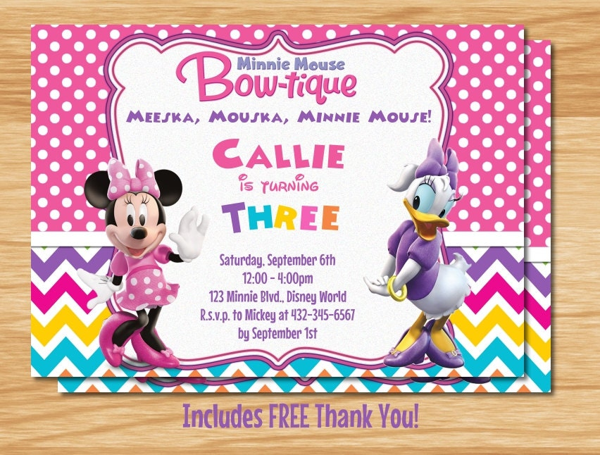 Minnie Mouse and Daisy Duck Birthday Invitation by ...