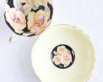 Yellow and Black Pansy Tea Cup by Paragon English Bone China