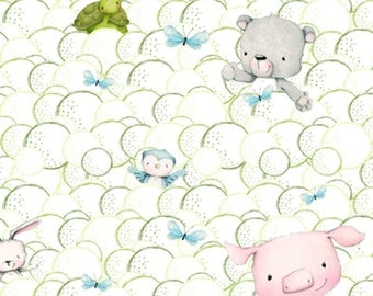 One Yard Snuggle Buddies - Animals in Bubbles in White - Cotton Quilt Fabric - by Stacey Yacula for Quilting Treasures - 23435-Z (W2271)