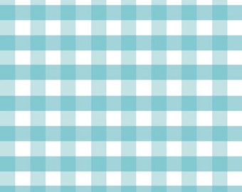 "Half Yard Large Gingham - 1/2"" Squares in Aqua Blue - Cotton Quilt Fabric - C460-20 - RBD Designers for Riley Blake Designs (W2434)"