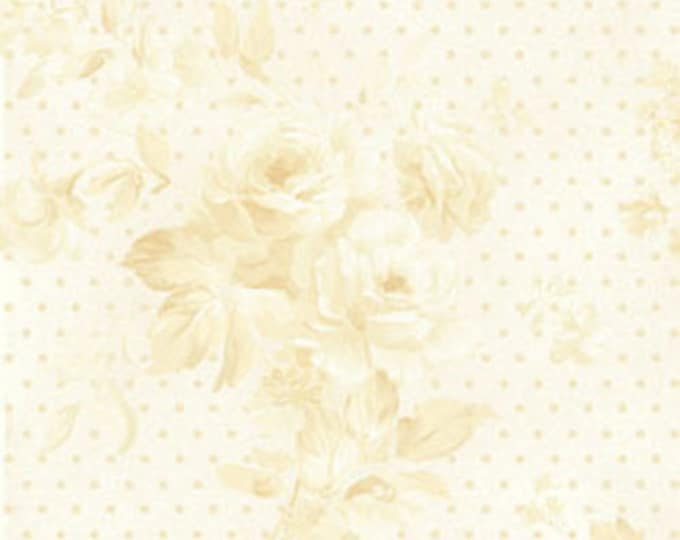 Half Yard Ellie Ann - Ellie in Cream - Romantic Floral Cotton Quilt Fabrics - by Eleanor Burns for Benartex Fabrics - 1227-07 (W2358)