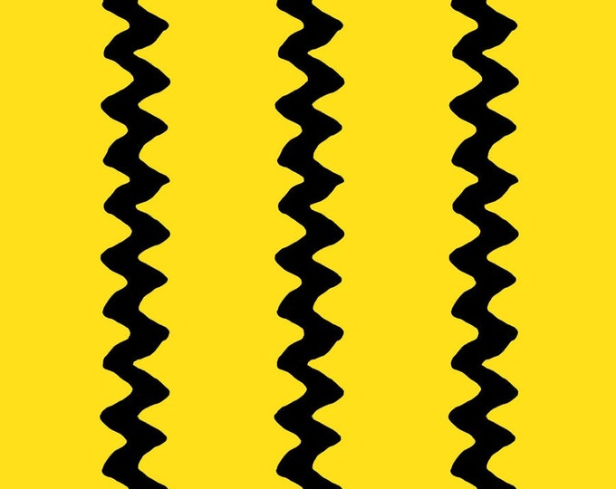 One Yard Peanuts - Happiness Is... - Zig Zag in Yellow - Charlie Brown Cotton Quilt Fabric - Quilting Treasures - 22067-S (W2416)