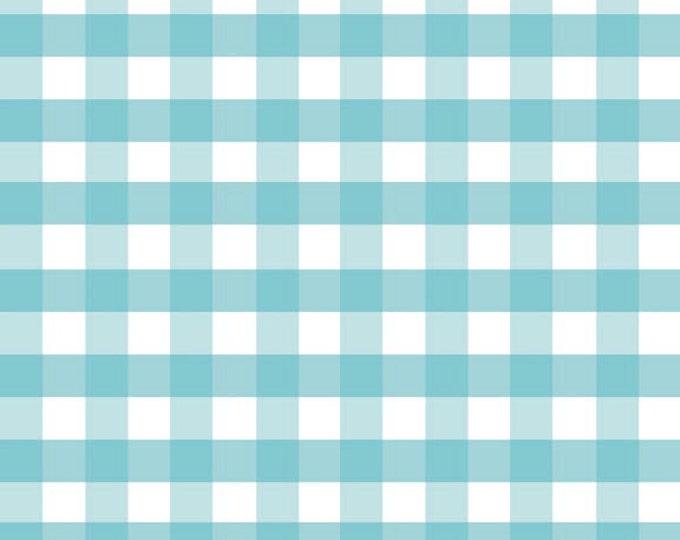 "Half Yard Large Gingham - 1/2"" Squares in Aqua Blue - Cotton Quilt Fabric - C460-20 - RBD Designers for Riley Blake Designs (W2434)"