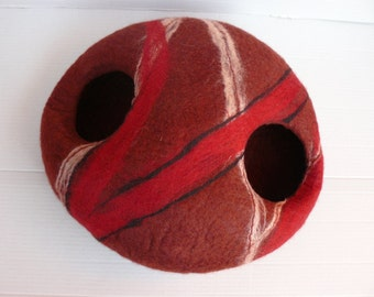 Felted Cat Cave / Cat House/ Mix Red Ruby Cocoon  with two holes and GIFT