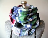 Upcycled Infinity Scarf, Multicolor Plaid Patchwork Cotton Flannel, Artsy Bohemian Accessory, Ready to Ship, Unisex Accessory Gift