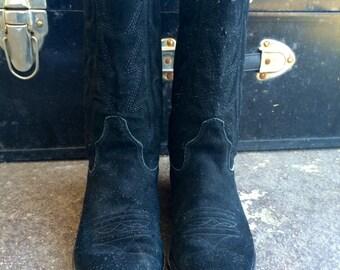 90s Black Suede Leather Cowboy Boots sz 7M