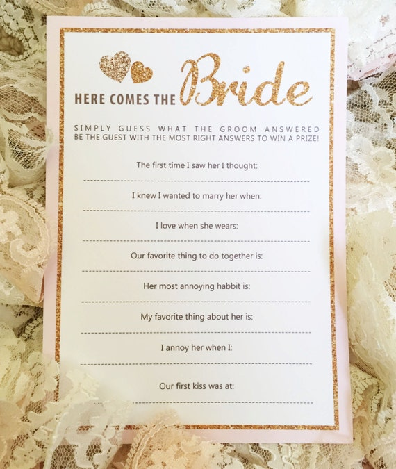 Instant Download: Printable Bridal Shower Game Gold And Pink