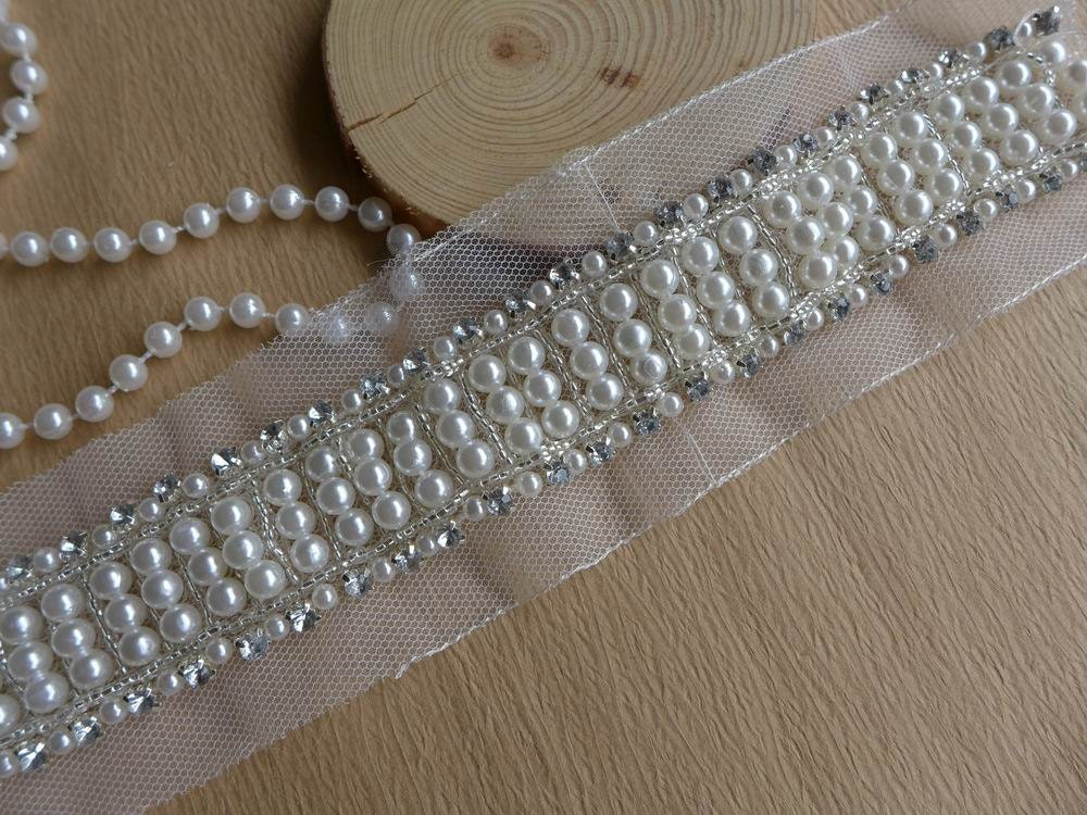 Ivory Pearl Trim Rhinestone Beaded Trim Bridal Sash Wedding