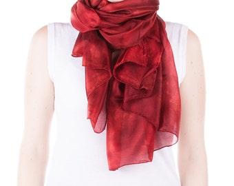 large intense red silk scarf /  magnificent velvet red shawl   /  large red silk veil / Hand dyed / 100% habotai silk