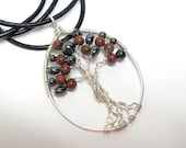 Sterling Silver Tree of Life Necklace with Hematite and Red Obsidian on a Black Leather Cord