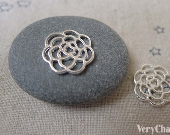 20 pcs of Silver Tone Filigree Flower Connector Charms 15mm A7361