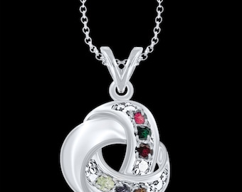 """Love Knot Necklace with 18"""" Link Chain (MP30500-6-SS) ss"""
