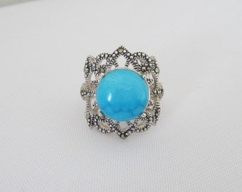 Vintage Sterling Silver Turquoise & Marcasite Ladies Ring Size 7