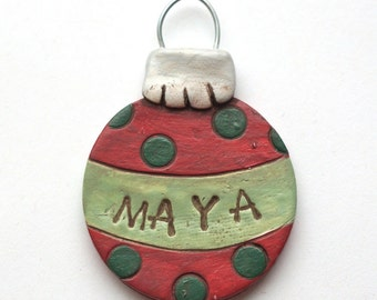 Personalized Ball ornament for BOY or GIRL Christmas Ornament Christmas folk art ornament