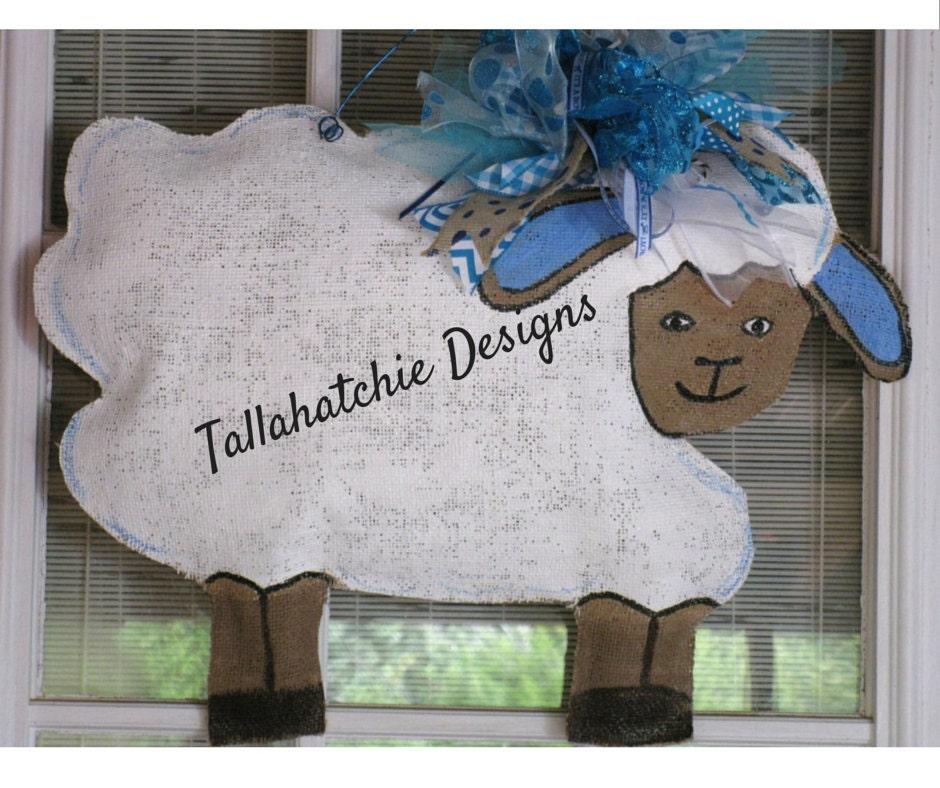 Lamb door hanger new baby boy door hanger sheep door decor new for Baby boy door decoration