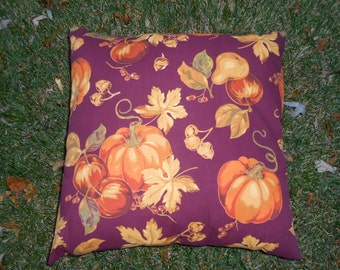 Autumn Fall Decorative Throw or Toss Pillow with pumpkins, leaves, acorns---Functional!
