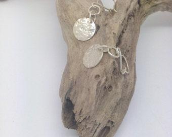 Handmade Sterling Silver Textured Disc Earrings