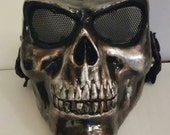 Hand-painted Copper and Silver Airsoft Skull Mask with Adjustable  Straps