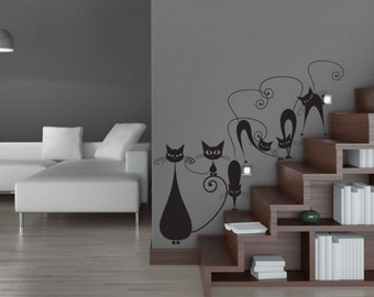 Wall sticker 5 ARTISTIC CATS wall decal for living room, vinyl wall decals, wall decals animals, vinyl decals, wall mural, animal wall decor