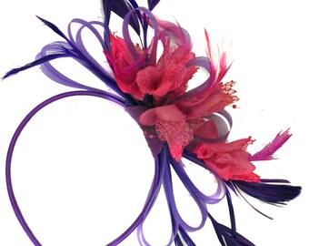 Purple & Fuchsia Hot Pink Feathers Fascinator On Headband