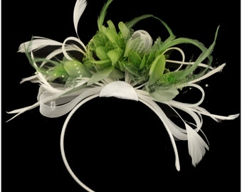 Lime Green Feathers & White Hoop Fascinator On Headband