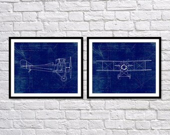 Airplane Art Print, Plane Art, Standard E1 Airplane, Blueprint Wall Art, Aviation Set of Two 5x7, 8X10, 11x14 Nursery Decor, Boys Wall Decor