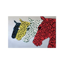 Wood Horse Portrait Original Geometric 3D Sculpture Wood Wall