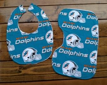 Miami Dolphins Bib, Miami Dolphins Baby, Dolphins Burp Cloth, Football Bib Set, Football Baby Gift, Miami Dolphins Fan, Miami Dolphins Gift
