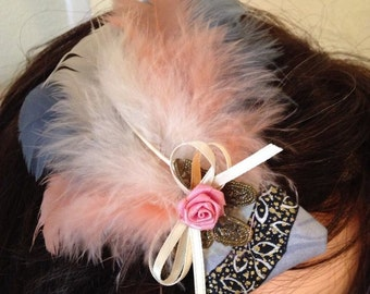 Romantic Butterfly Feathered Fascinator in Blues and Pinks