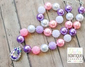 SALE Sofia the First Inspired Amulet Chunky Bead Necklace and Bracelet Set - Read To Ship