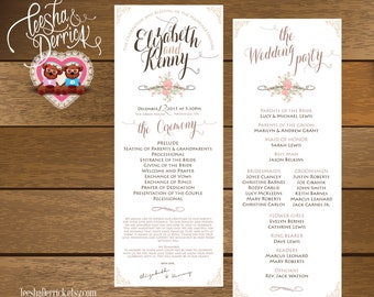 Printable Wedding Program and ceremony order in typography flora white classic theme (w0154)