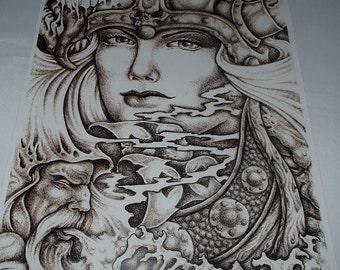 Freya, Goddess of Love, Viking Print ~ Poster with Artwork by Micah Holland #5031