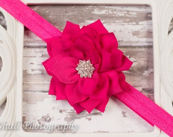 Hot Pink Flower Headband-Baby Headband-Girls Headband-Baby Girl Headband-Newborn Headband-Baby Hairbow-Headband-Hairbows-baby girl