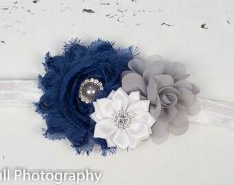 Navy Blue Flower Headband, Navy Grey White Girls Headband, Baby Girl Headband, Newborn Headband, Navy Blue Headband, Hairbows, baby girl