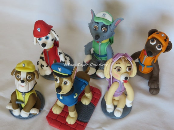 Kids Toys Action Figure: Paw Patrol Fondant Dog Toppers By SuesSugarCreations On Etsy