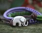 Wrap Bracelet- Macrame Wrap Bracelet- Bohemian Jewelry  Leather Wrap Bracelet - Elephant Button- Purple- Green