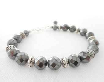 Faceted Hematite Bracelet, Gray Stone Beaded Bracelet, Hematite Jewelry, Gunmetal Grey Bracelet