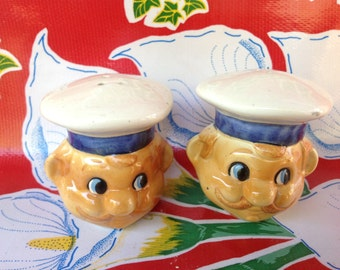 Vintage ceramic hand painted chef salt and pepper shakers