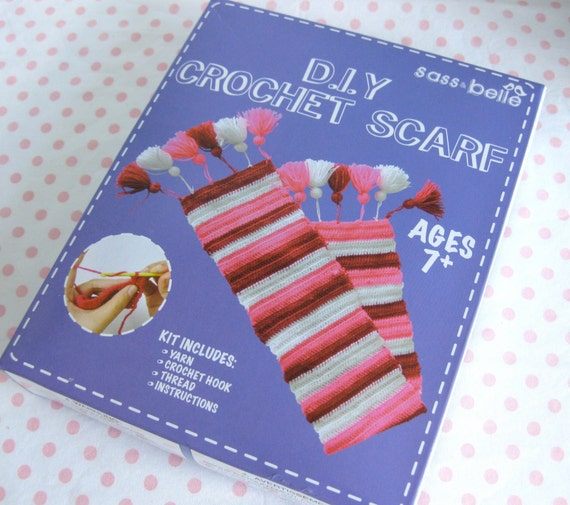 Crochet Kits For Beginners : Beginners DIY crochet scarf kit by BeautifulMayblossom Etsy