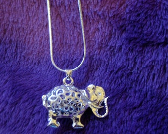 925 Sterling Silver Elephant Pendant Necklace, Sterling Silver Pendant and Necklace, Silver Elephant Pendnant Necklace, Silver Necklace