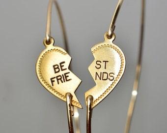 Gold Heart Best Friends Bangle Bracelet ,Set of 2 Gold Best Friends Bracelets,Gold Heart Bangle,Friendship Bracelet Set,Valintime's Day gift