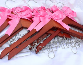 8 Personalized Bridesmaid hangers,  Bridal party hangers,  wedding dress hangers,  bridesmaids gifts,  Bride Hanger,  personalized gift