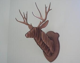 Medium Wood Deer Head Wall Trophy