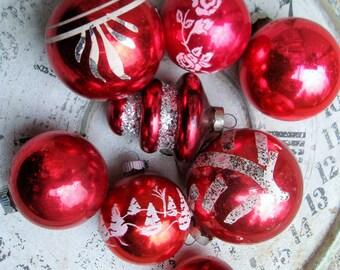 Glass Ornaments Vintage Christmas Ornament Lot Red White Silver Shabby Vintage Holiday Mercury Glass Shiny Brite Cottage Christmas Decor