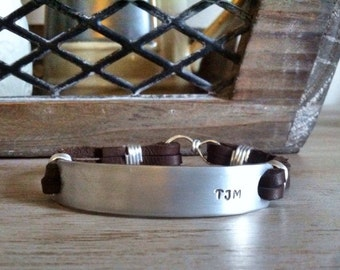Personalized Mens Silver Leather Cuff Bracelet - Custom Leather Bracelet
