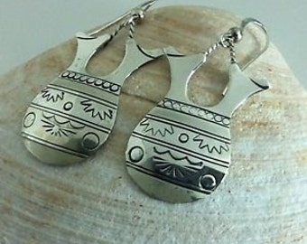 VINTAGE 925 Sterling SILVER Engraved Dangle EARRINGS By Silver Cloud